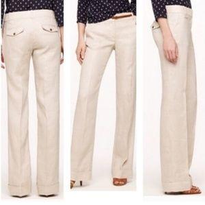 J Crew 100% Linen Cafe Trouser Pants Size 4